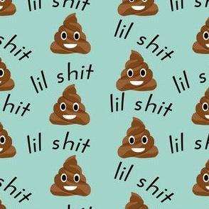 lil sh*t - poop, emoji, poop emoji fabric, sweary fabric - mint