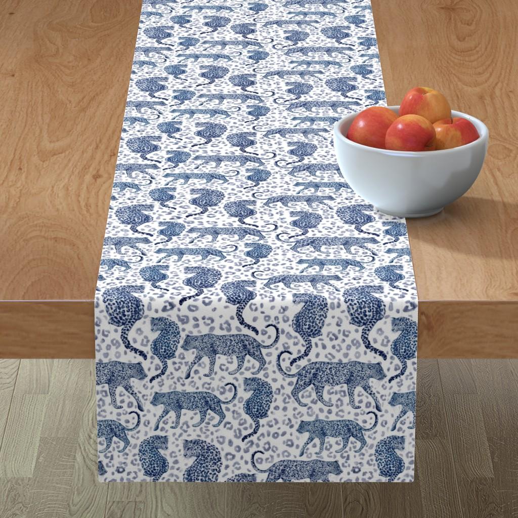 Minorca Table Runner featuring indigo leopard by amyjacobusdesign