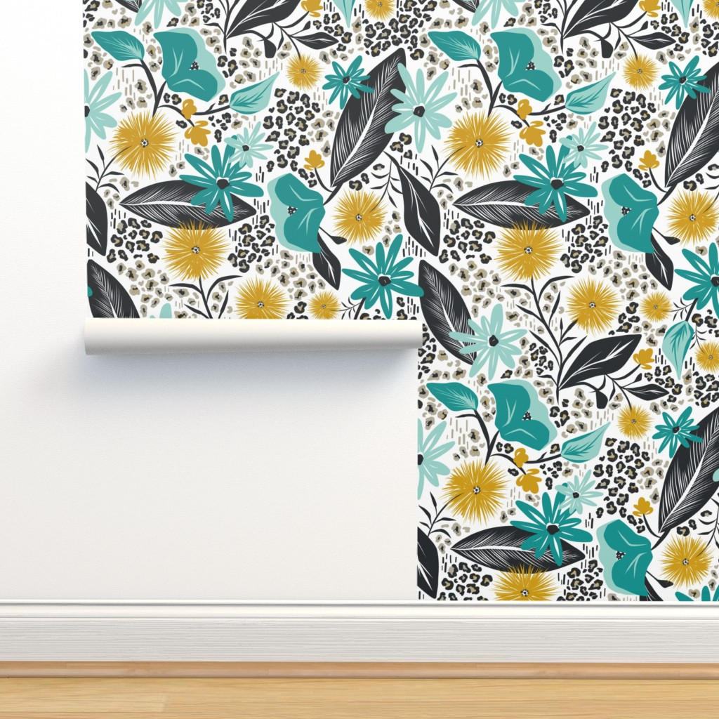 Isobar Durable Wallpaper featuring Wild Girl - White & Teal Large Scale by heatherdutton