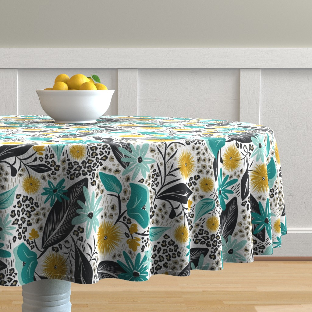 Malay Round Tablecloth featuring Wild Girl - White & Teal Large Scale by heatherdutton