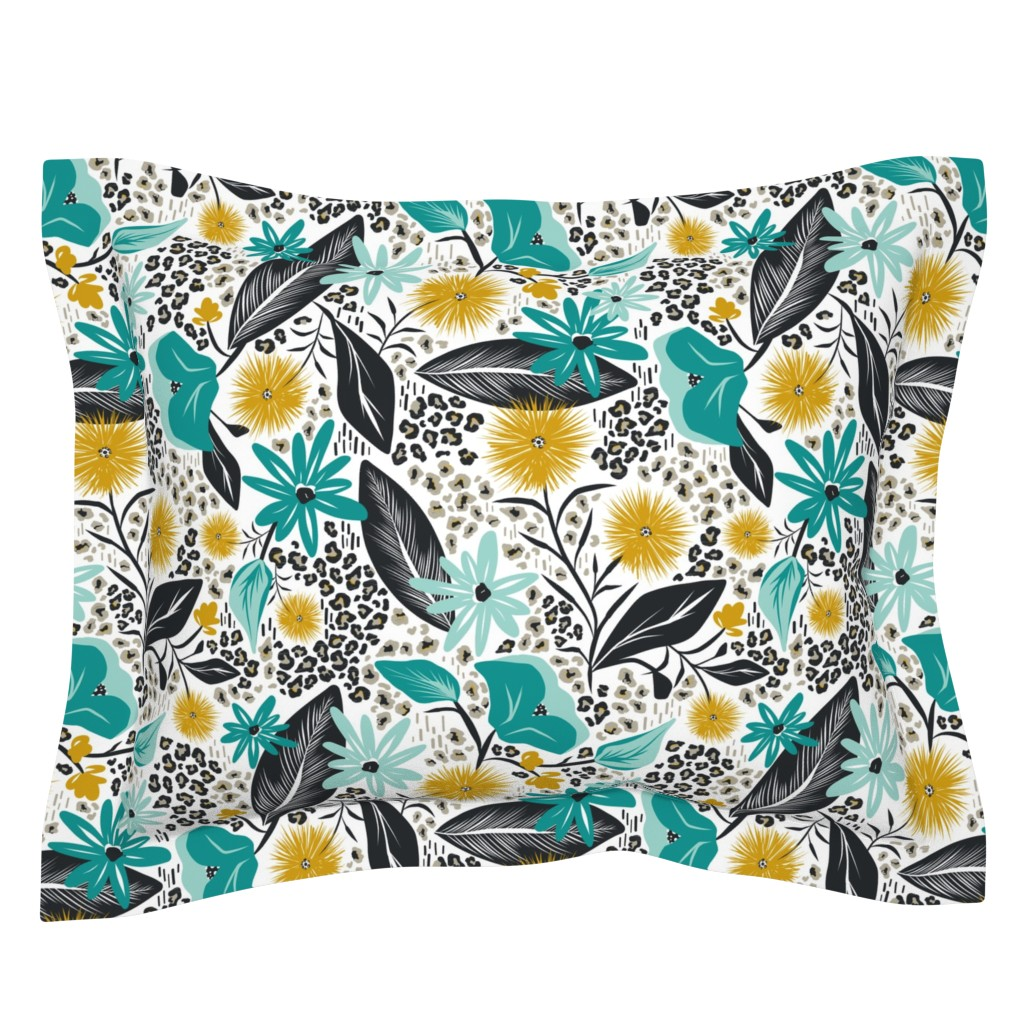 Sebright Pillow Sham featuring Wild Girl - White & Teal Large Scale by heatherdutton