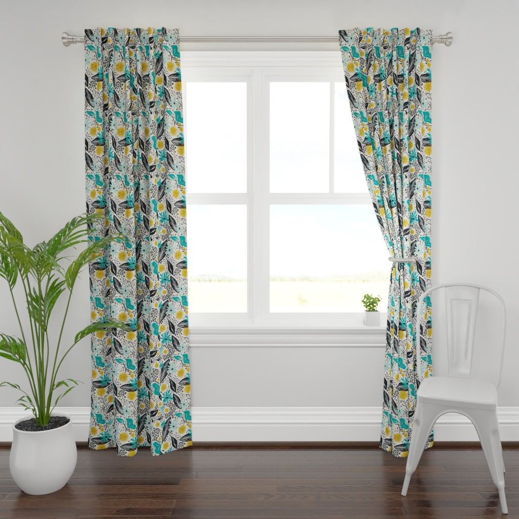 Plymouth Curtain Panel featuring Wild Girl - White & Teal Large Scale by heatherdutton