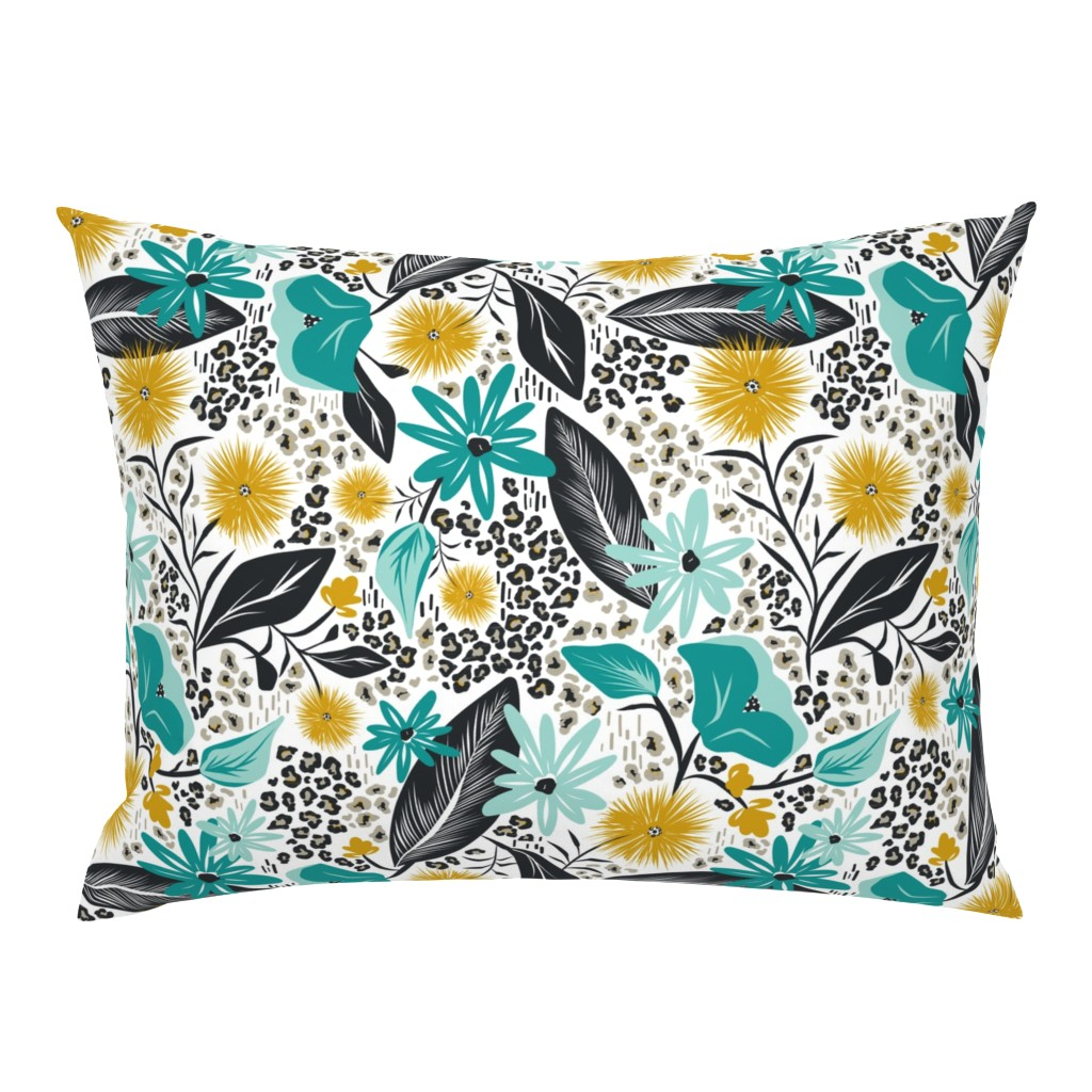 Campine Pillow Sham featuring Wild Girl - White & Teal Large Scale by heatherdutton