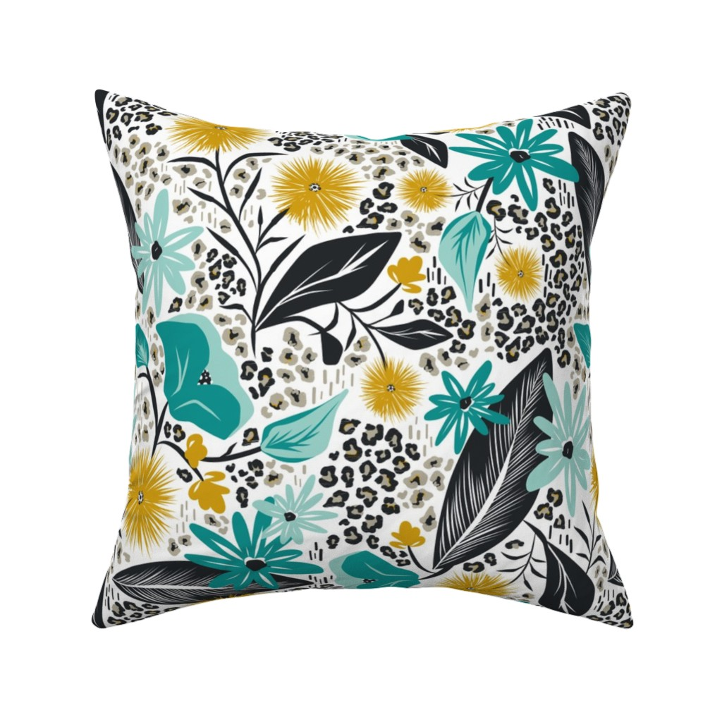 Catalan Throw Pillow featuring Wild Girl - White & Teal Large Scale by heatherdutton