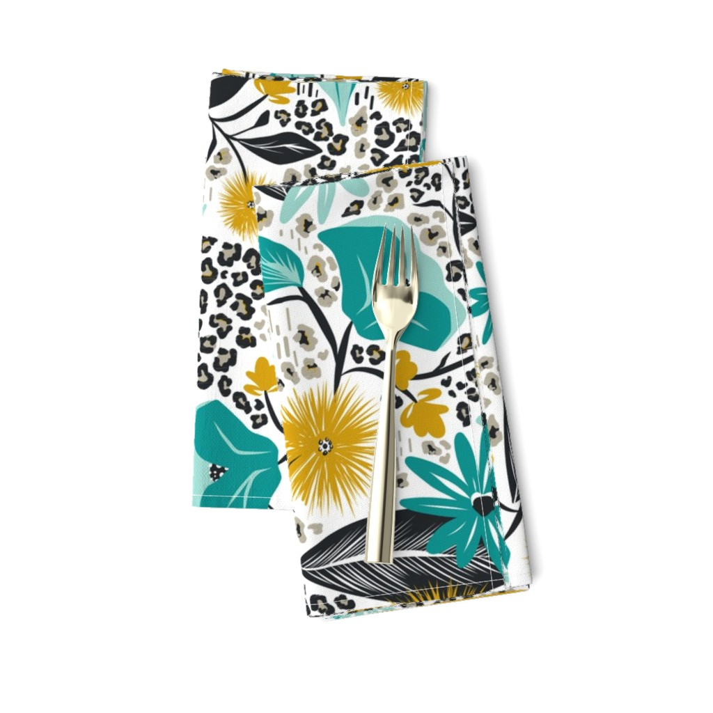 Amarela Dinner Napkins featuring Wild Girl - White & Teal Large Scale by heatherdutton