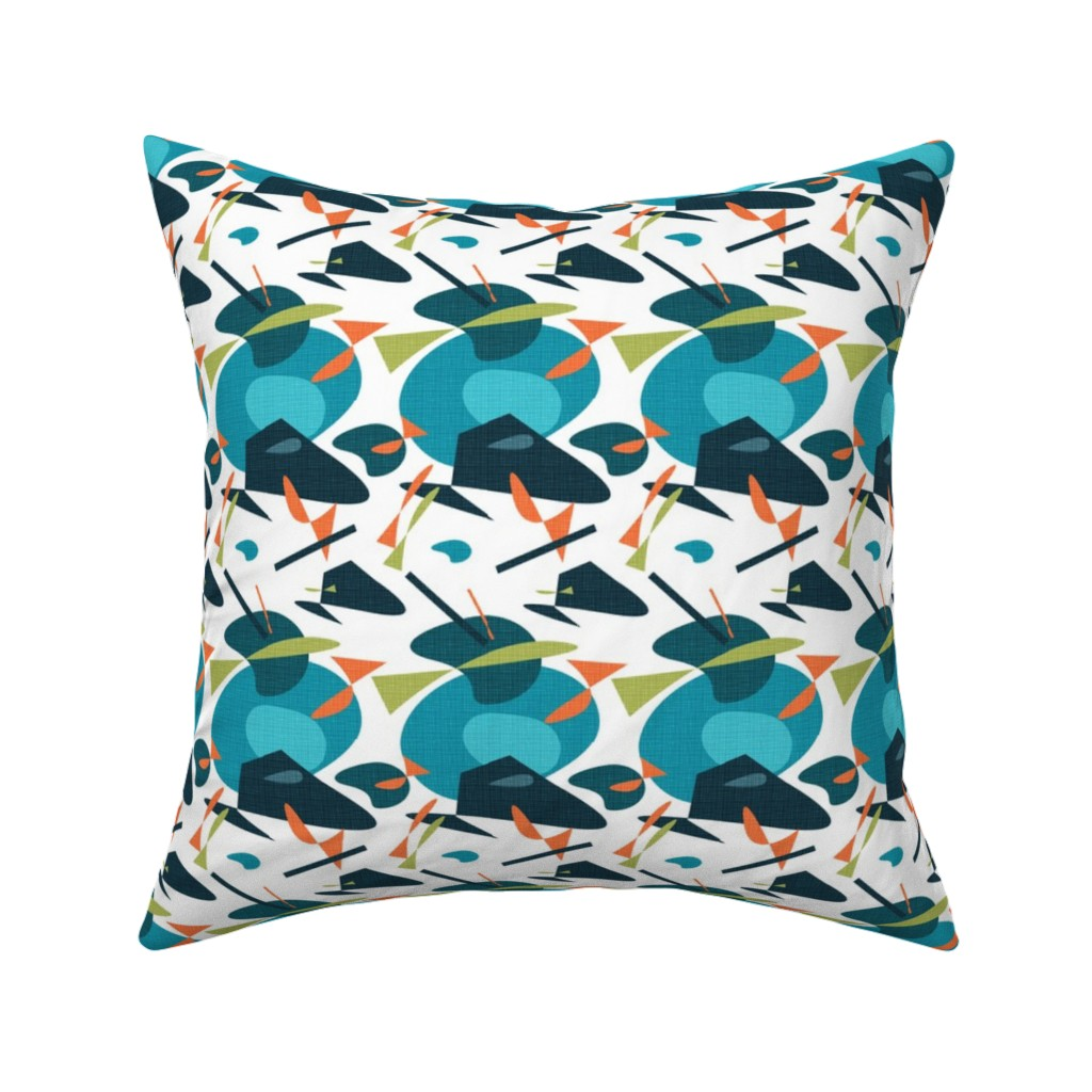 Catalan Throw Pillow featuring Mid Century Life Blue Orange with Fish grid by barbarapritchard