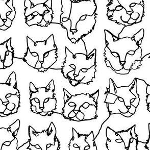 Contour Cats - Black and White