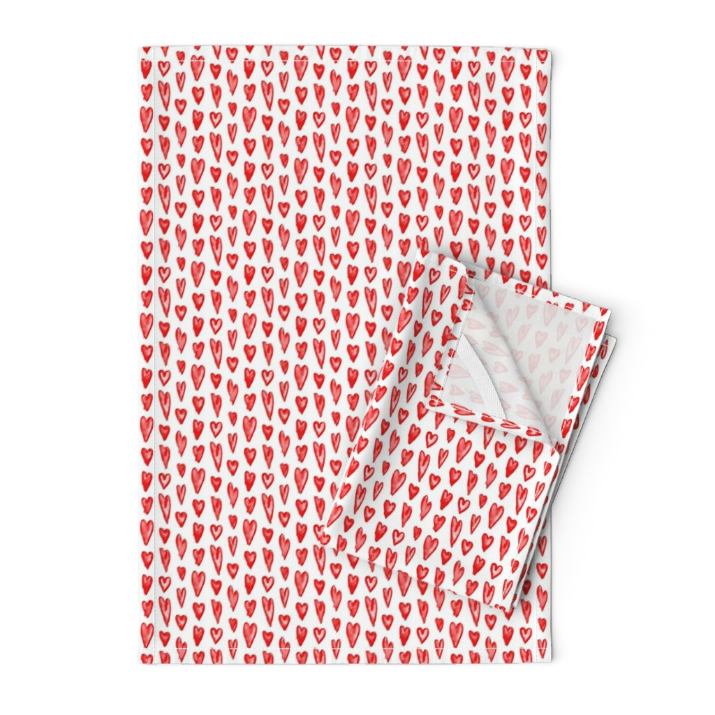 Orpington Tea Towels featuring Watercolor Hearts - Compact by autumn_musick