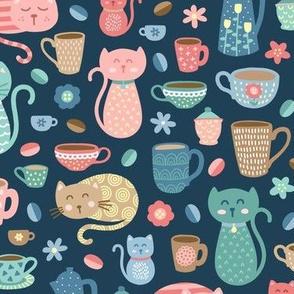 Cheerful Coffee Cats on Dark Blue