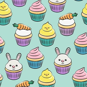 Easter cupcakes - bunny chicks carrots spring sweets - pink on aqua LAD19