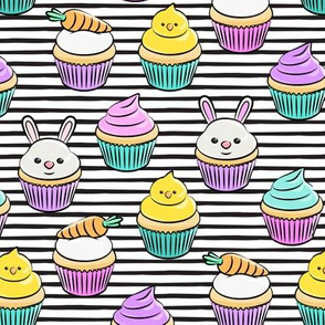 Easter cupcakes - bunny chicks carrots spring sweets - brights black stripe LAD19