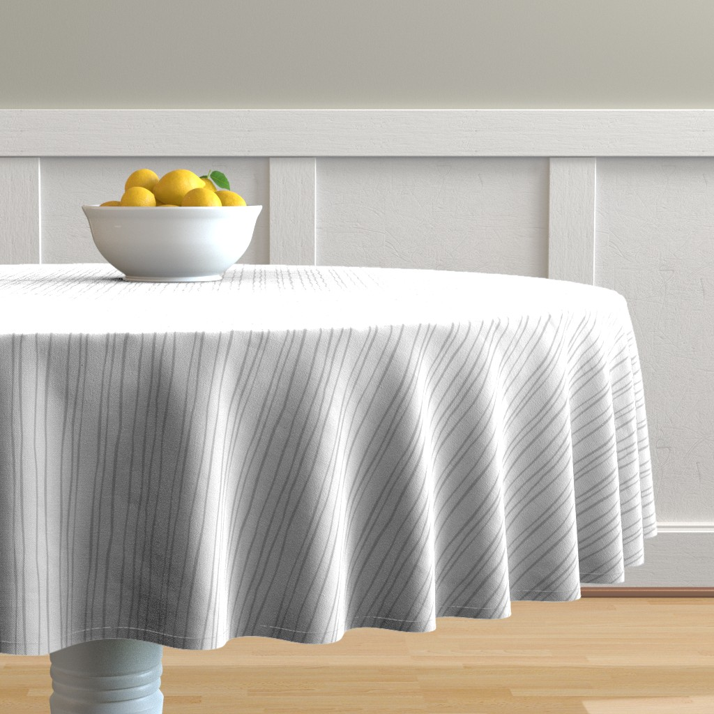 Malay Round Tablecloth featuring Narrow Silver Stripe by autumn_musick