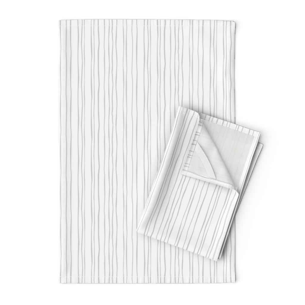 Orpington Tea Towels featuring Narrow Silver Stripe by autumn_musick