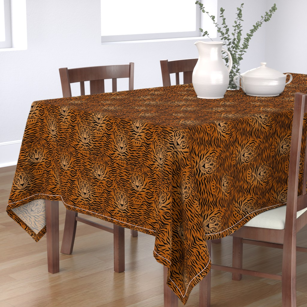 Bantam Rectangular Tablecloth featuring tiger by sveta_aho