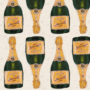 gold champagne bottles - large size half drop repeat (non-mirrored flip)