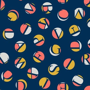small alphabet ditsy dots - coral, goldenrod and light grey on midnight blue