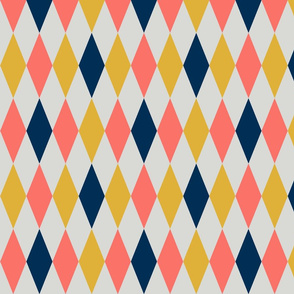 Harlequin diamonds - coral, midnight blue and goldenrod on pale grey