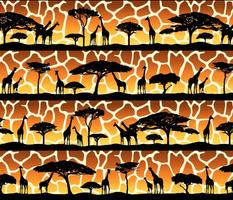 Giraffe Sunset Safari Silhouettes (Large Scale)