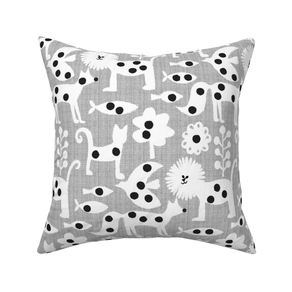 Catalan Throw Pillow featuring polka dot printed animals by ottomanbrim