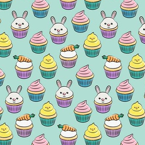 (small scale) Easter cupcakes - bunny chicks carrots spring sweets - pink on aqua LAD19CBS
