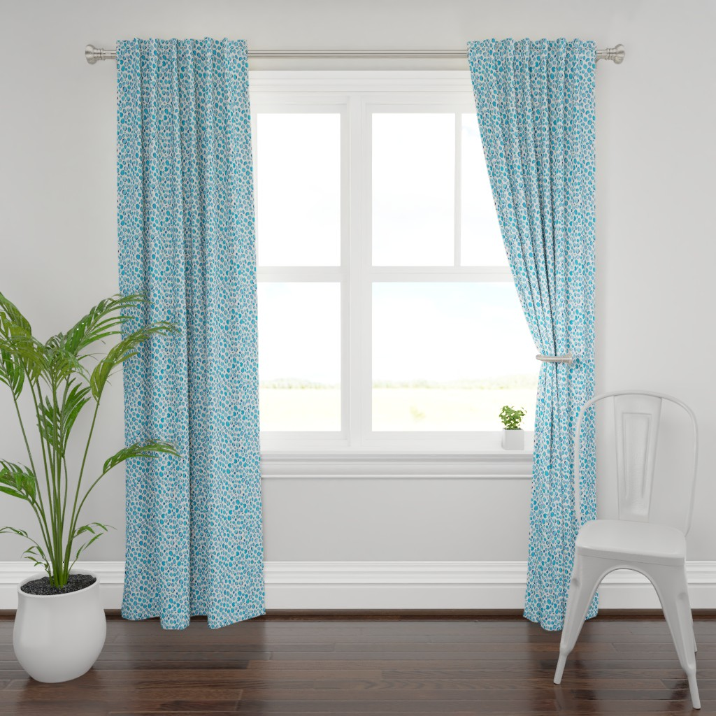 Plymouth Curtain Panel featuring leopard cat - blue by colorofmagic
