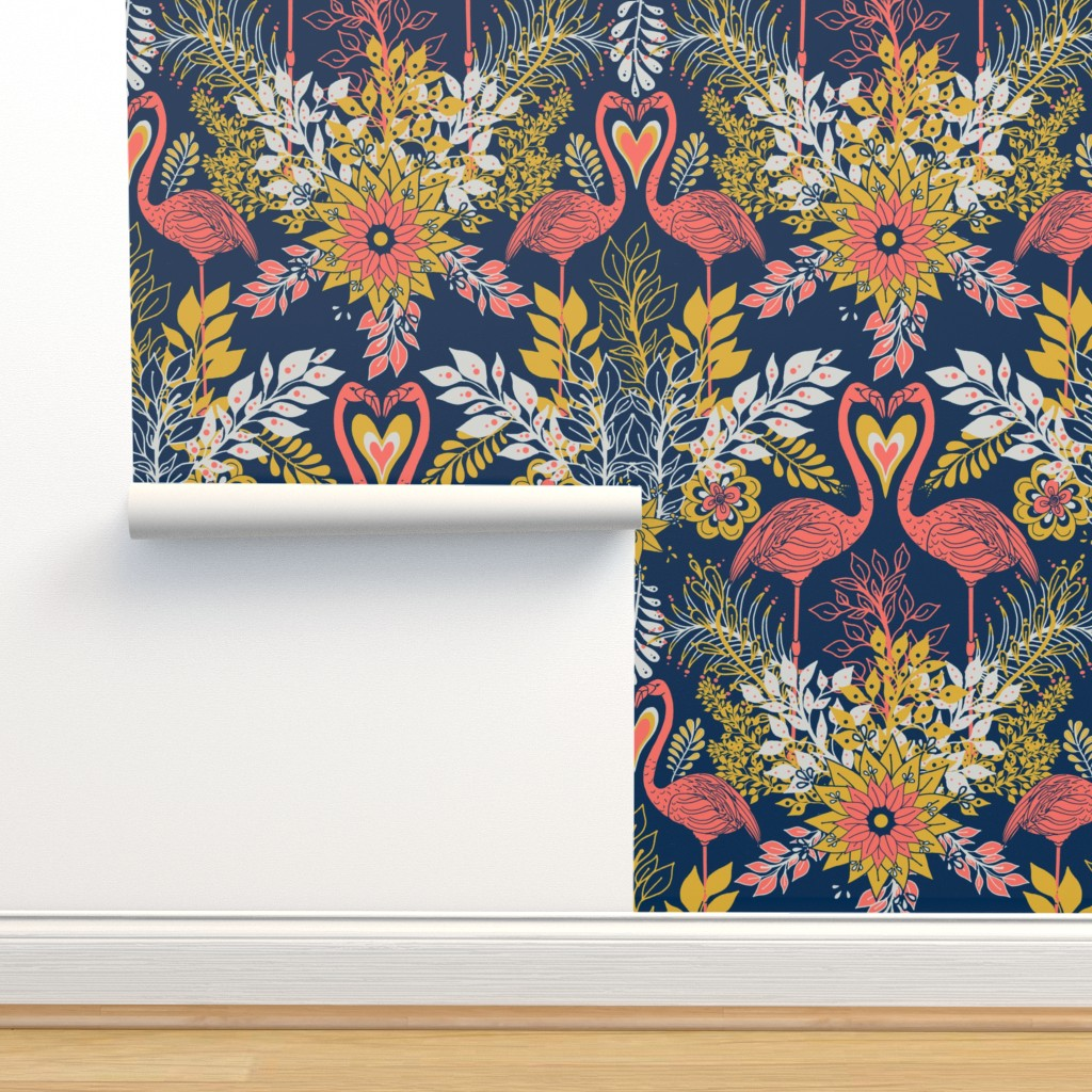 Isobar Durable Wallpaper featuring Flamingo Water Garden by irishvikingdesigns