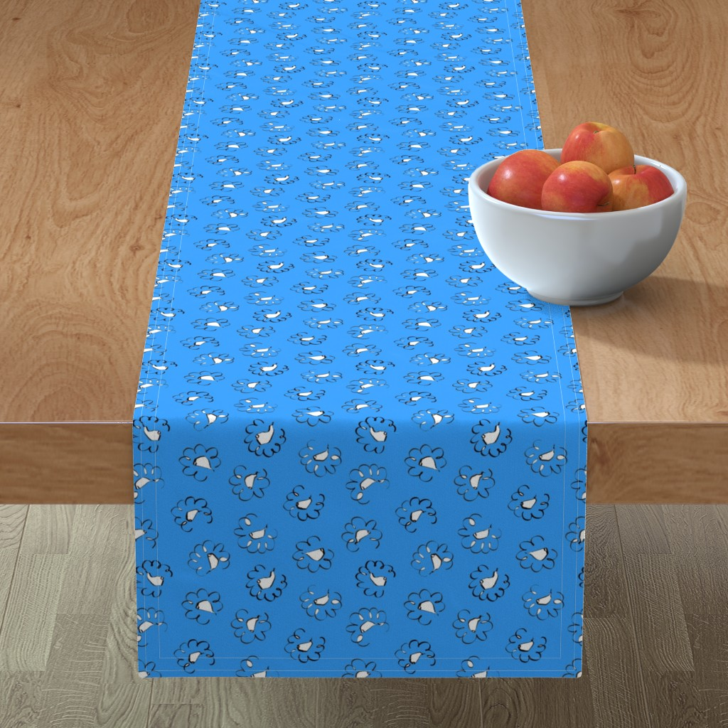 Minorca Table Runner featuring Held to Ramson - Summer sky blue by moirarae
