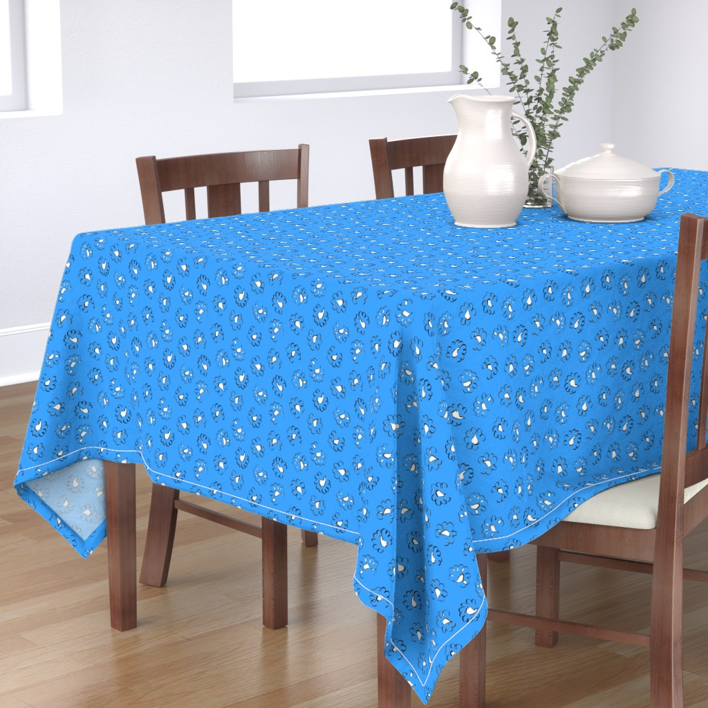 Bantam Rectangular Tablecloth featuring Held to Ramson - Summer sky blue by moirarae