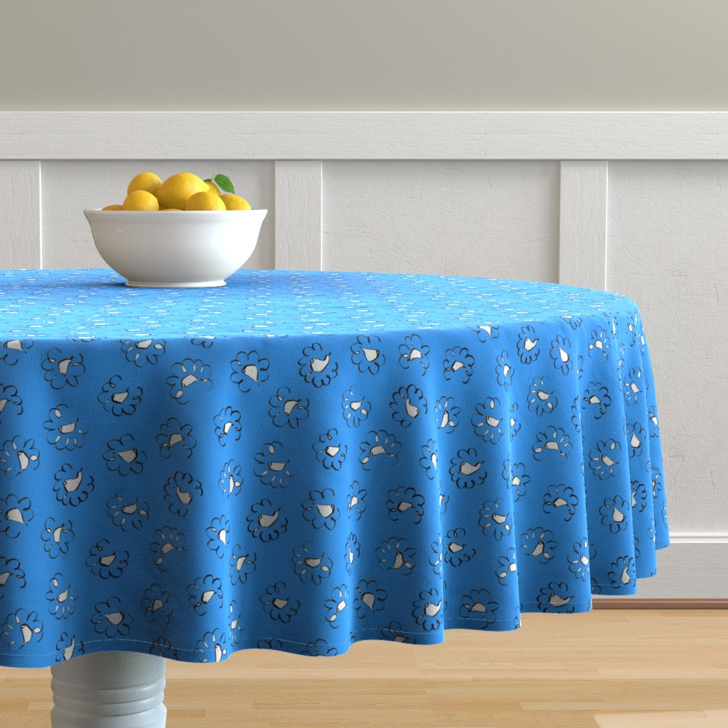 Malay Round Tablecloth featuring Held to Ramson - Summer sky blue by moirarae