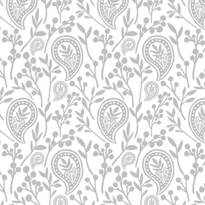 Floral Paisley - Light Gray