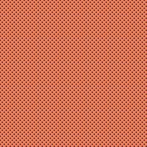 Polka Dots Navy Blue On Coral Orange