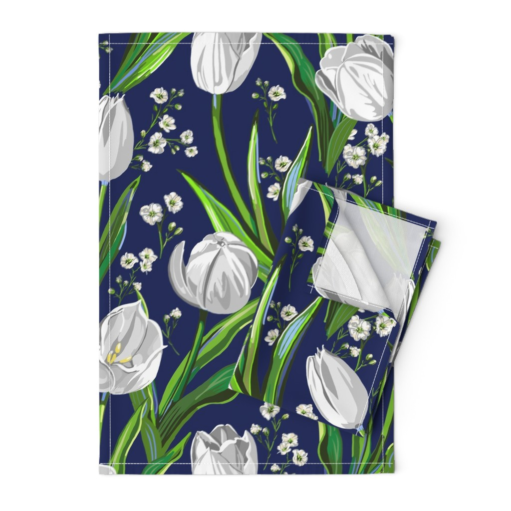 Orpington Tea Towels featuring Big White Tulips + Babys Breath | Navy, Green by southwind