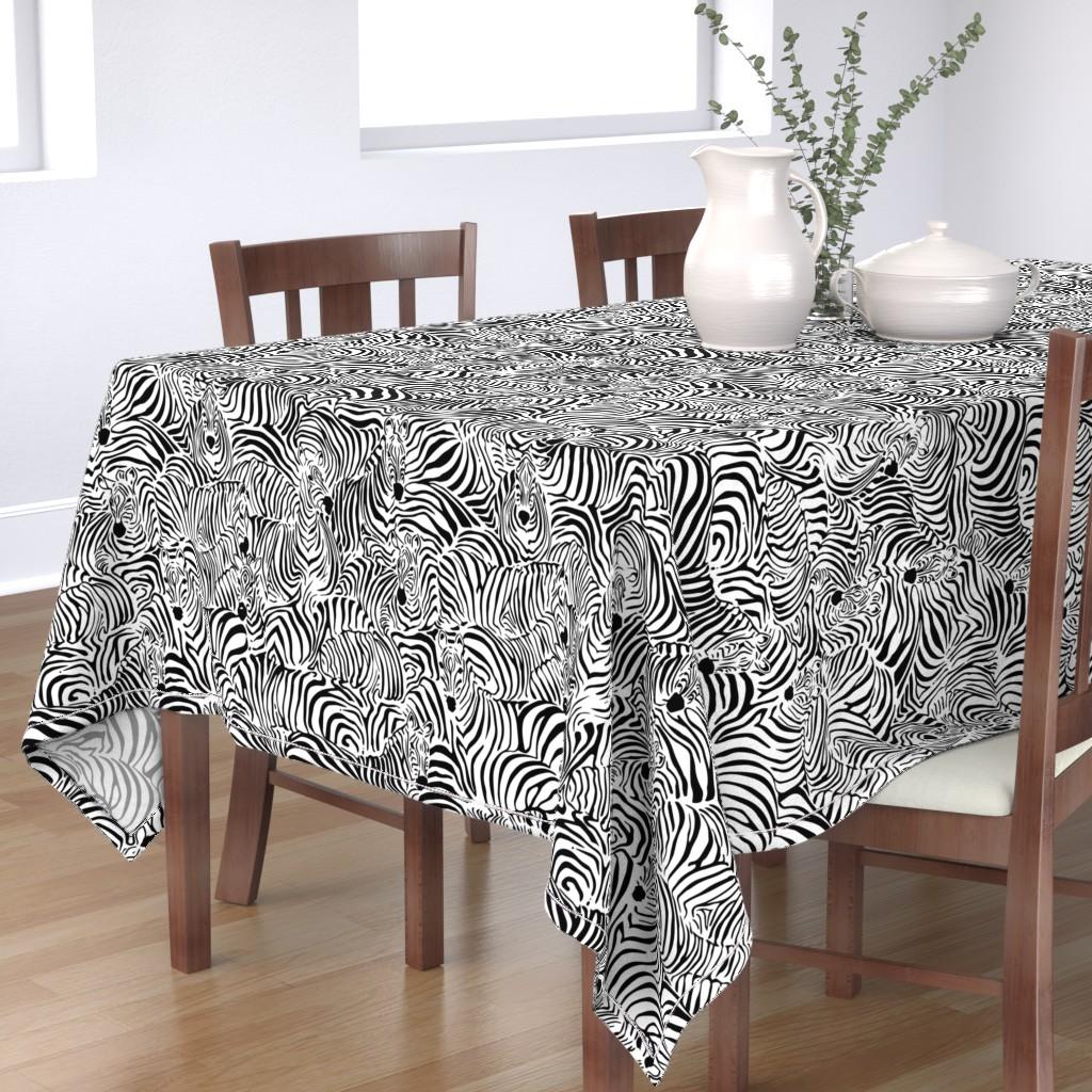 Bantam Rectangular Tablecloth featuring Zebra's Breach by ptimiya