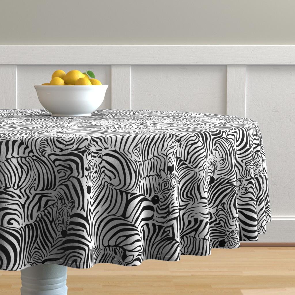 Malay Round Tablecloth featuring Zebra's Breach by ptimiya