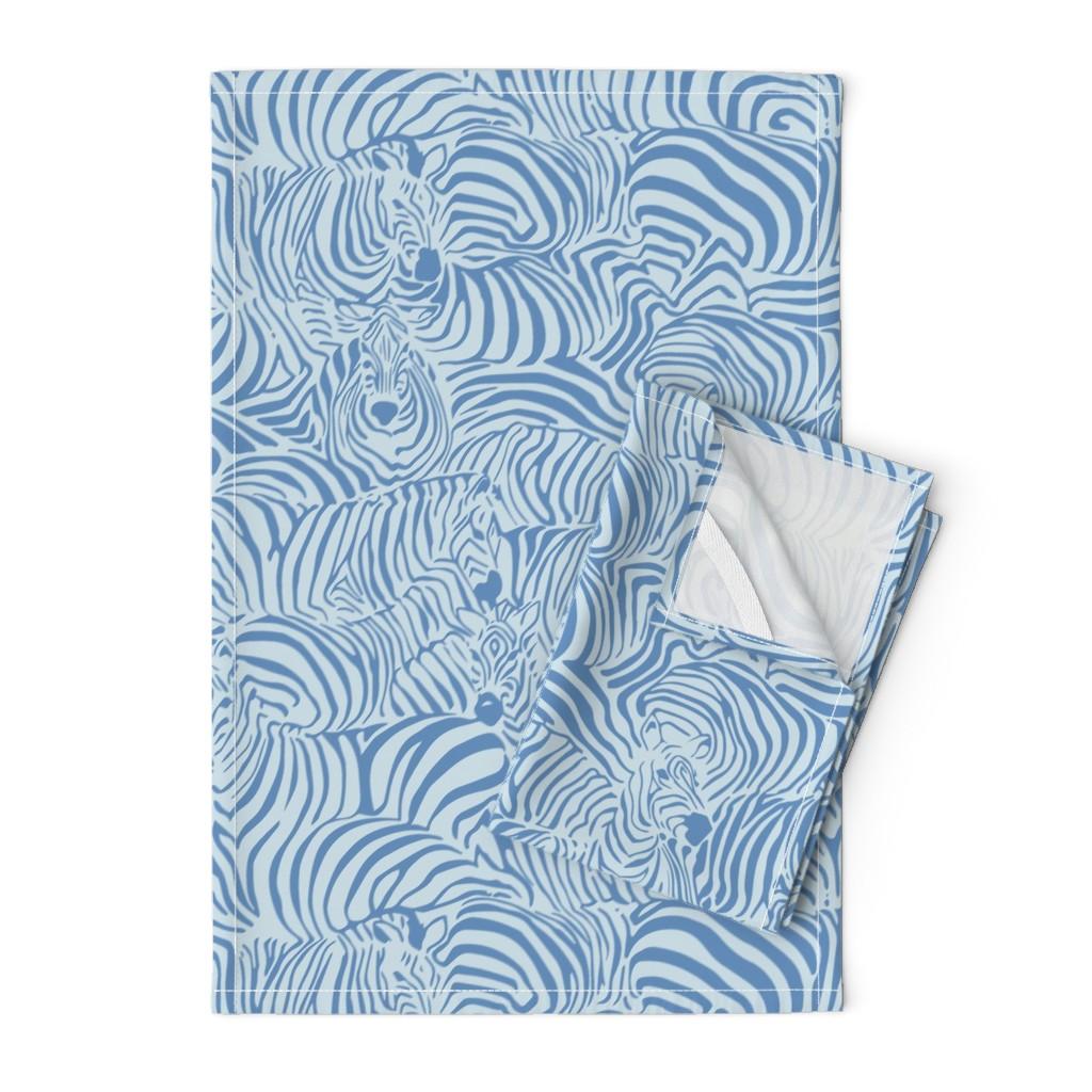Orpington Tea Towels featuring Zebra Breach blue by ptimiya