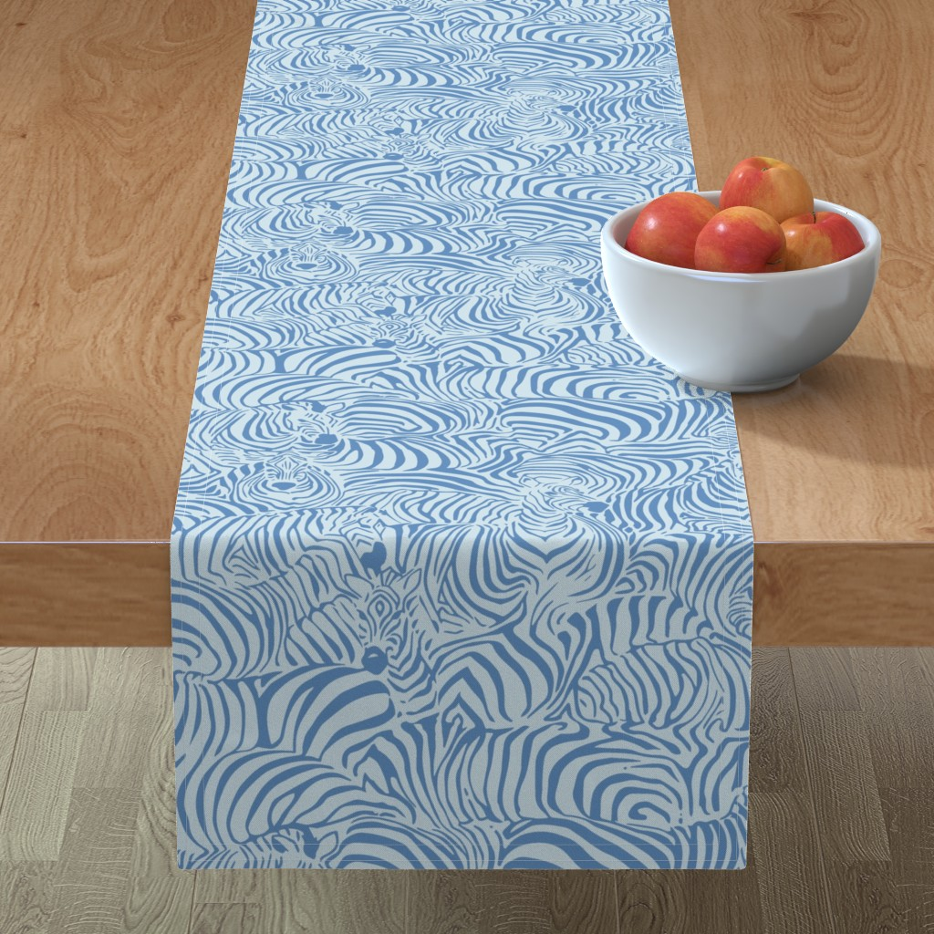 Minorca Table Runner featuring Zebra Breach blue by ptimiya