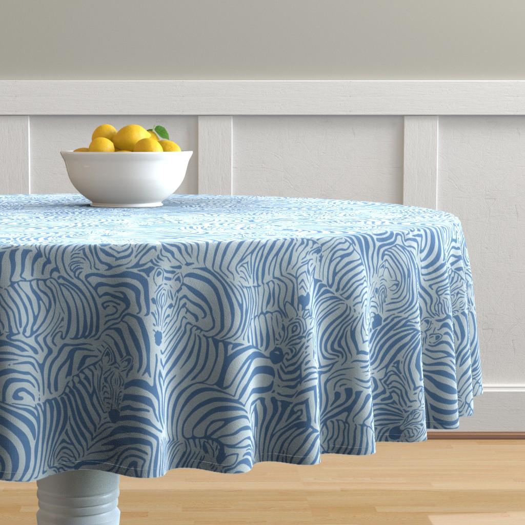 Malay Round Tablecloth featuring Zebra Breach blue by ptimiya