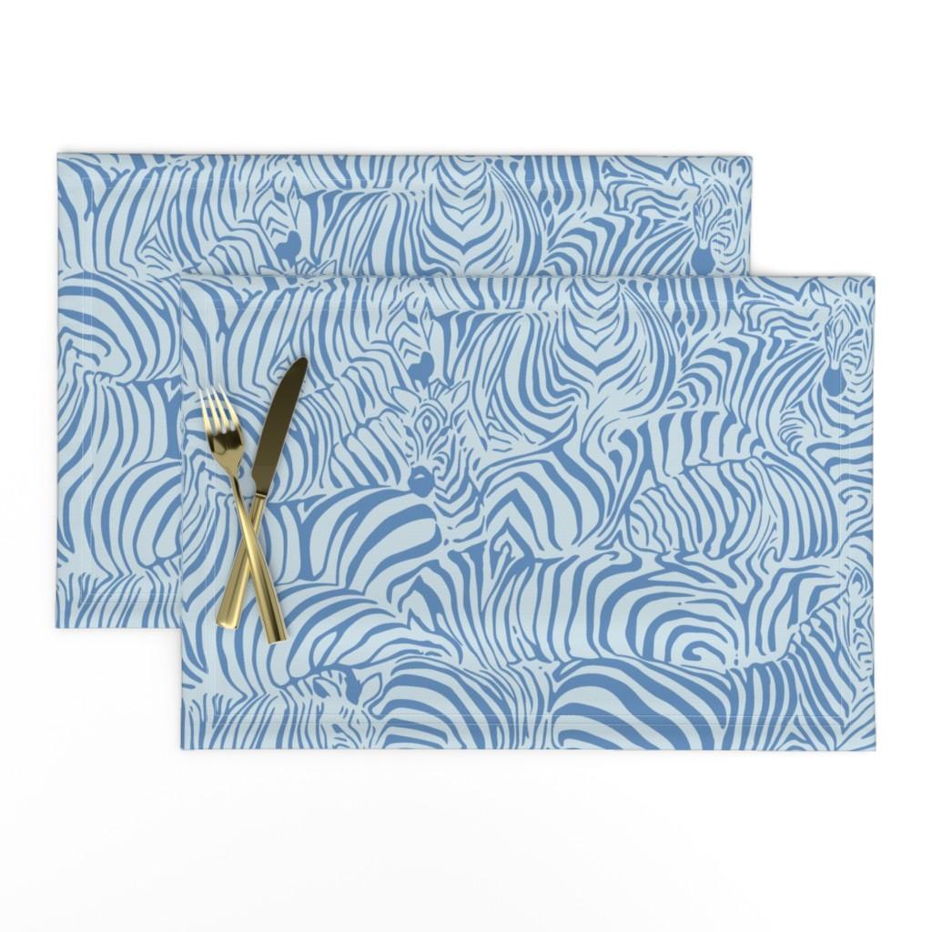 Lamona Cloth Placemats featuring Zebra Breach blue by ptimiya