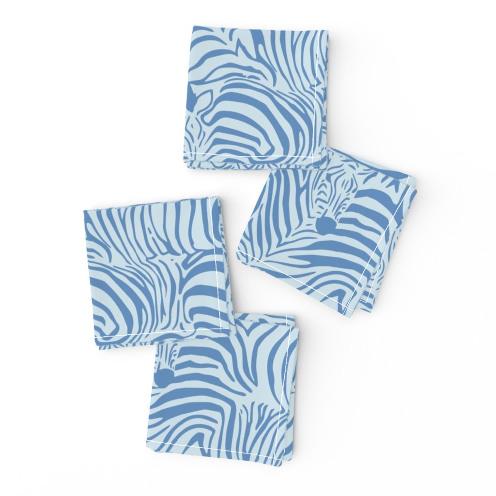 Frizzle Cocktail Napkins featuring Zebra Breach blue by ptimiya