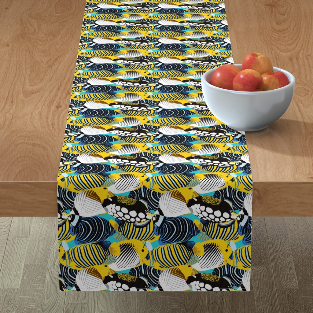 Minorca Table Runner featuring Tropical Fish  by nadyabasos