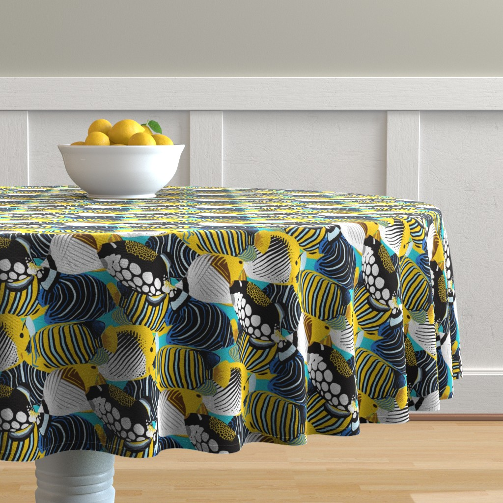Malay Round Tablecloth featuring Tropical Fish  by nadyabasos