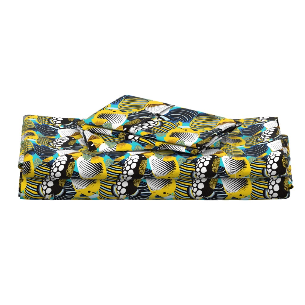 Langshan Full Bed Set featuring Tropical Fish  by nadyabasos