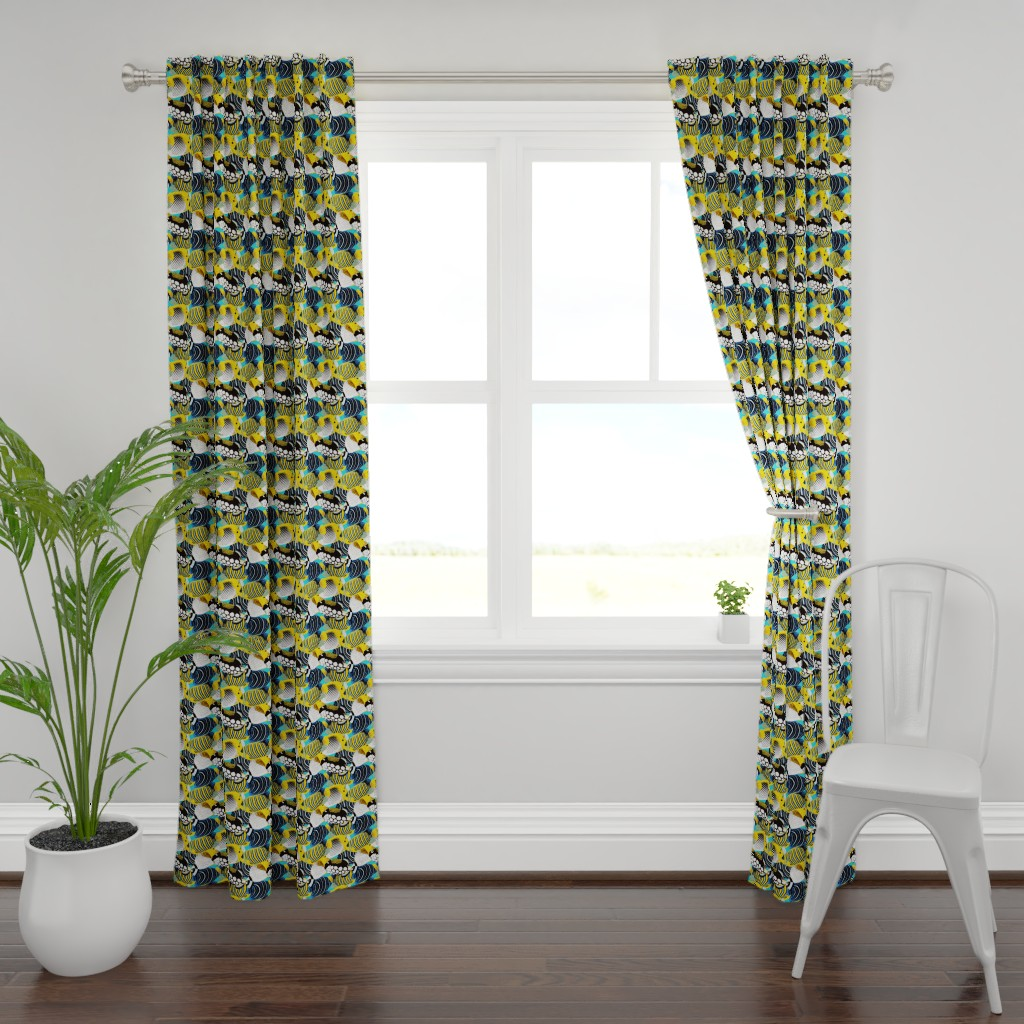 Plymouth Curtain Panel featuring Tropical Fish  by nadyabasos
