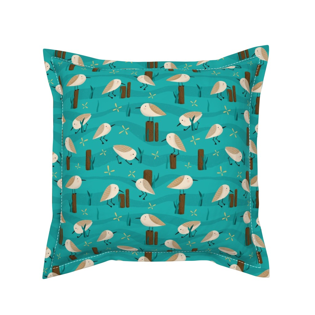 Serama Throw Pillow featuring Peeping Pipers by arthousewife