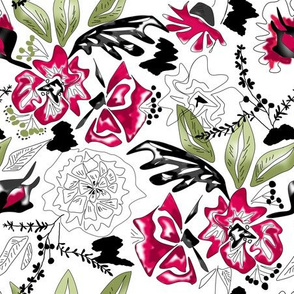 Watercolor sketched floral red flowers leaves pattern