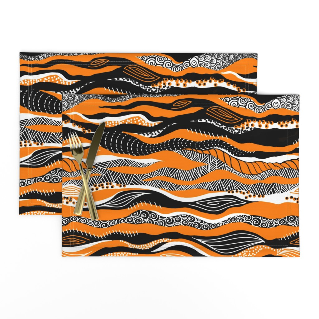 Lamona Cloth Placemats featuring Tigers & Tribal Textures by gcatmash