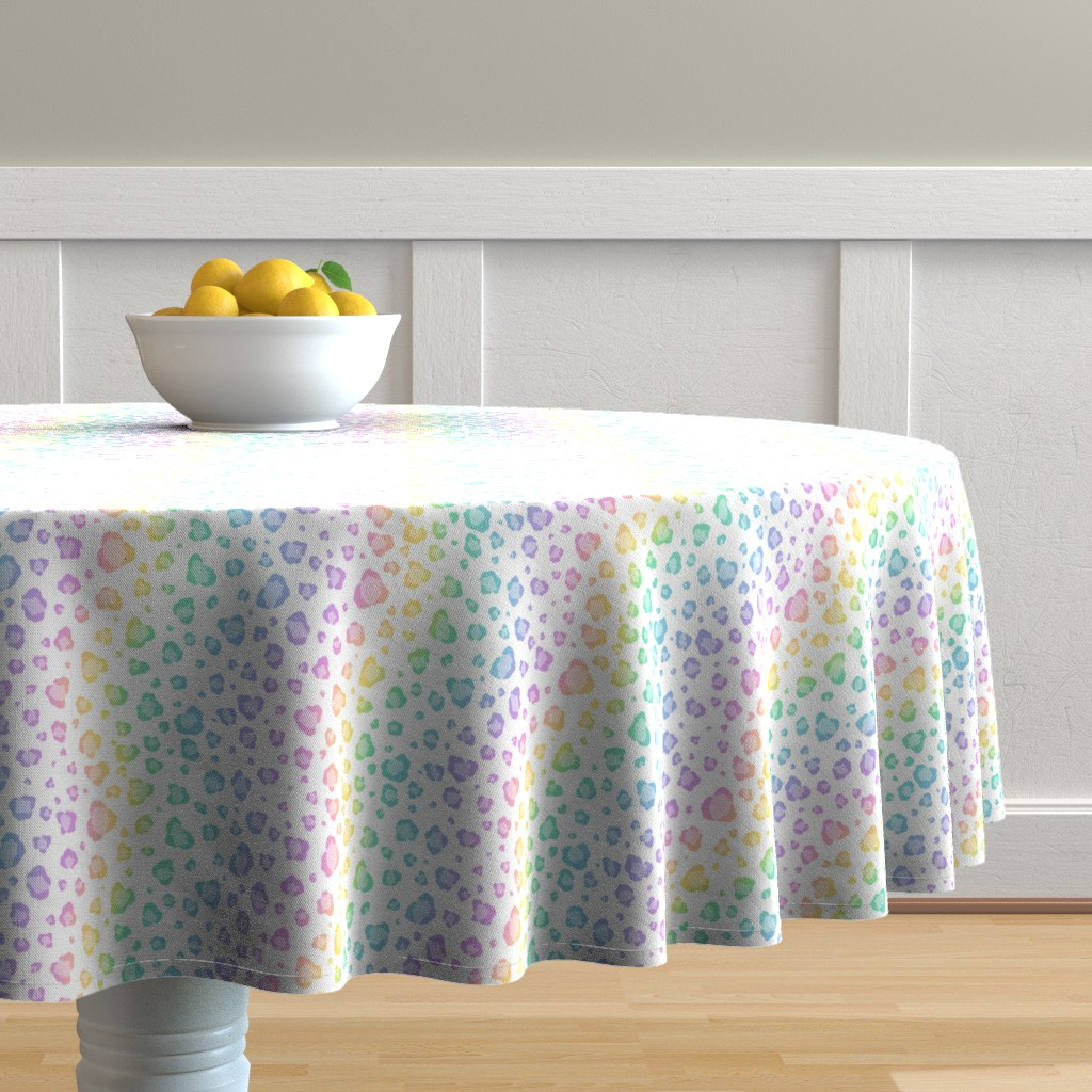 Malay Round Tablecloth featuring Rainbow Leopard Print by raccoongirl