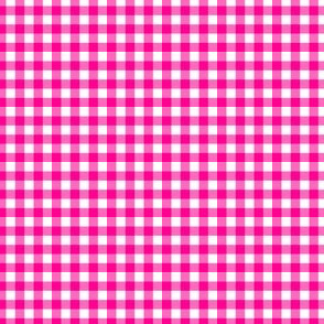 Gingham Large Magenta And White