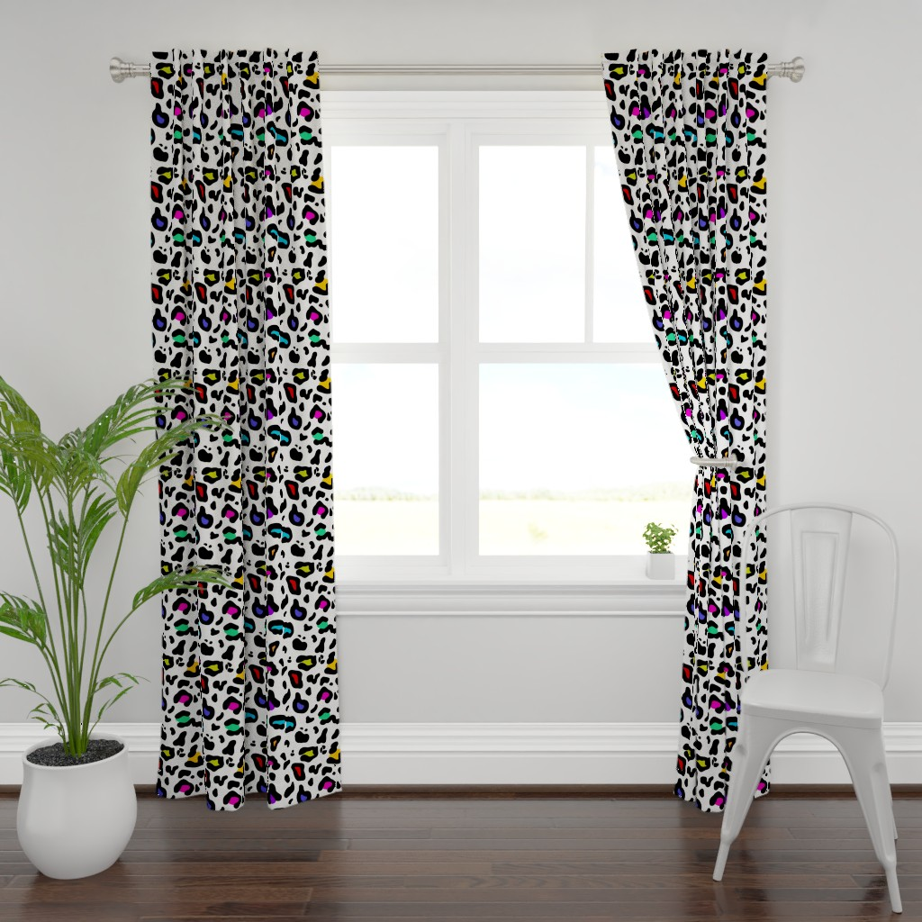 Plymouth Curtain Panel featuring Rainbow Leopard by thewellingtonboot