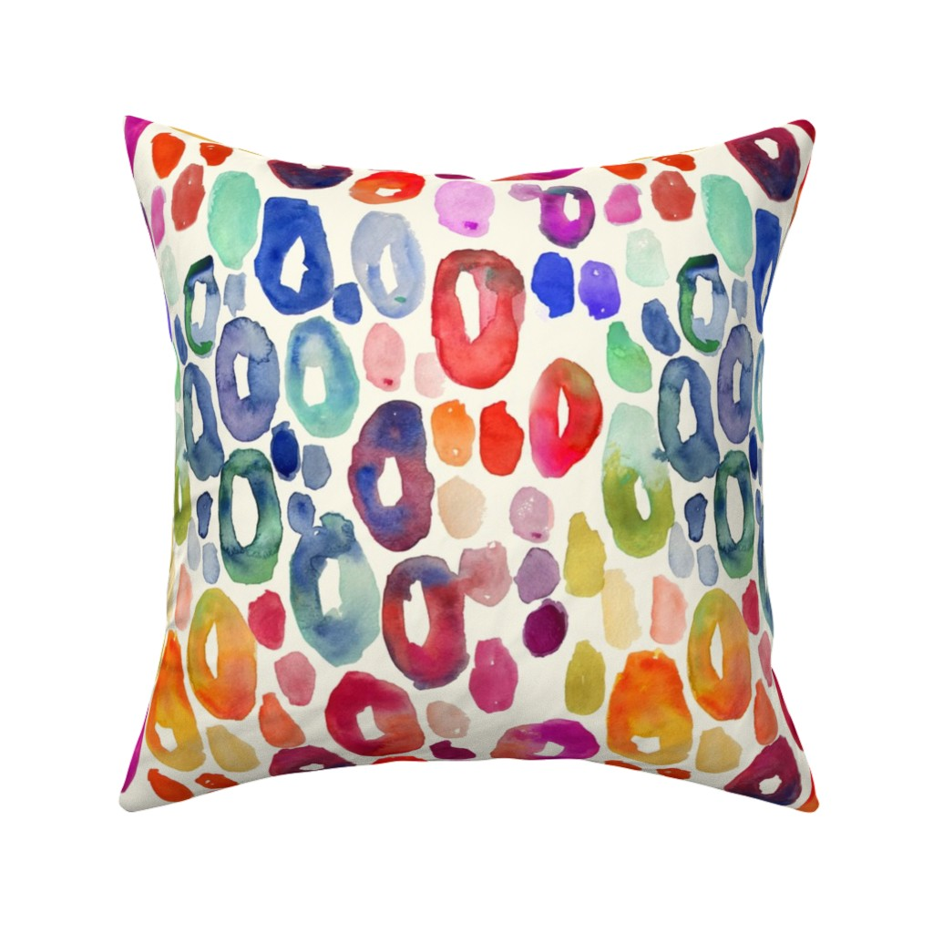 Catalan Throw Pillow featuring Rainbow Watercolor Animal Print (Regular Size) // Off White  by theartwerks